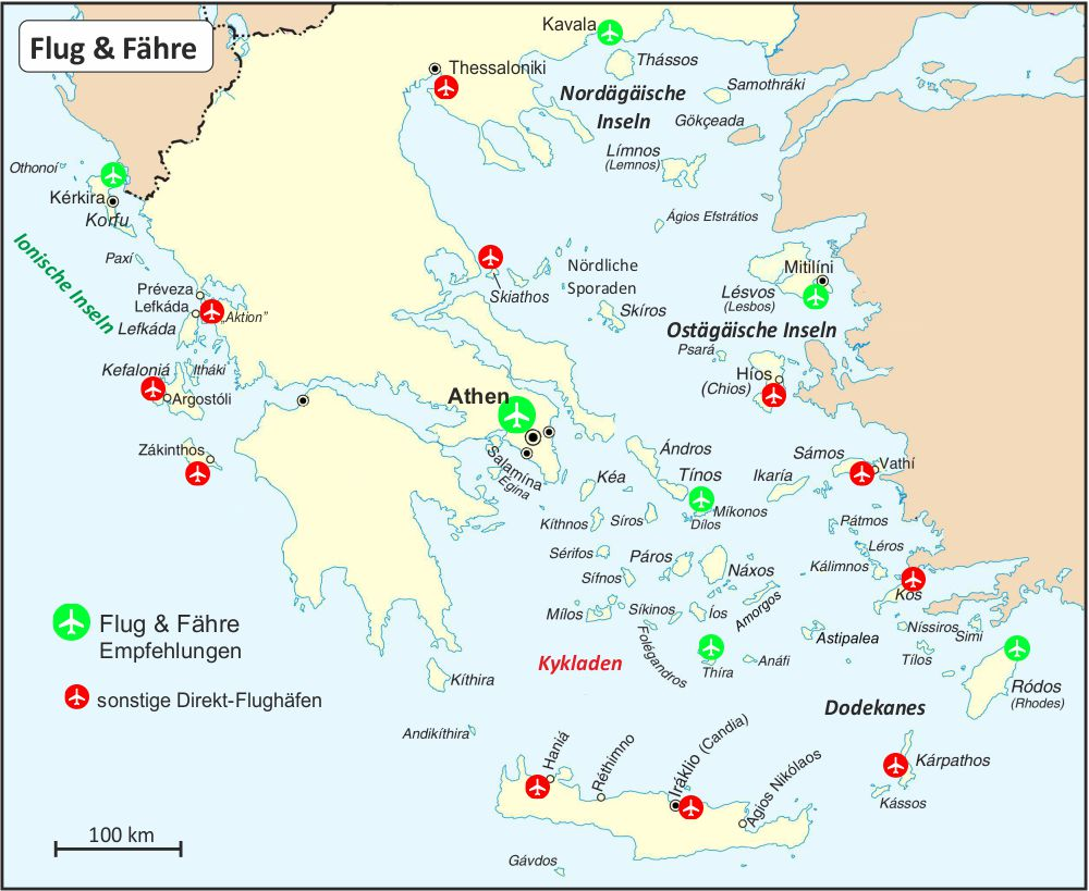 Flug Fahre Einfach Weg Griechenland Griechische Inseln